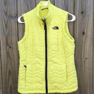 North Face Neon Yellow Full Zip Vest Women's Small
